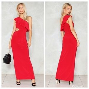 NWT Nasty Gal Red One Shoulder Cut Out Maxi Dress